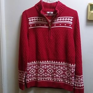 """Croft & Barrow"" Festive Zippered Sweater"